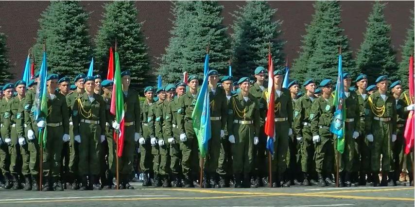 Участие военно-патриотических клубов в параде на Красной площади 2 августа 2018 года