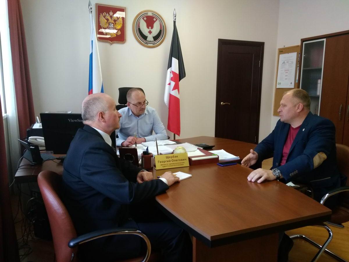 Руководство «Союза десантников Удмуртии» на плановой встрече с министром здравоохранения республики