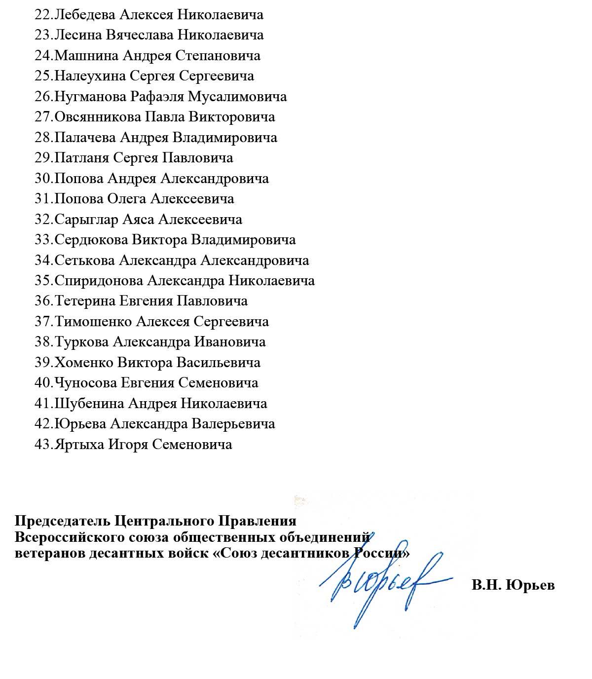 ПРИКАЗ № 10 от 15.10.20 о награждении знаком 90 лет ВДВ